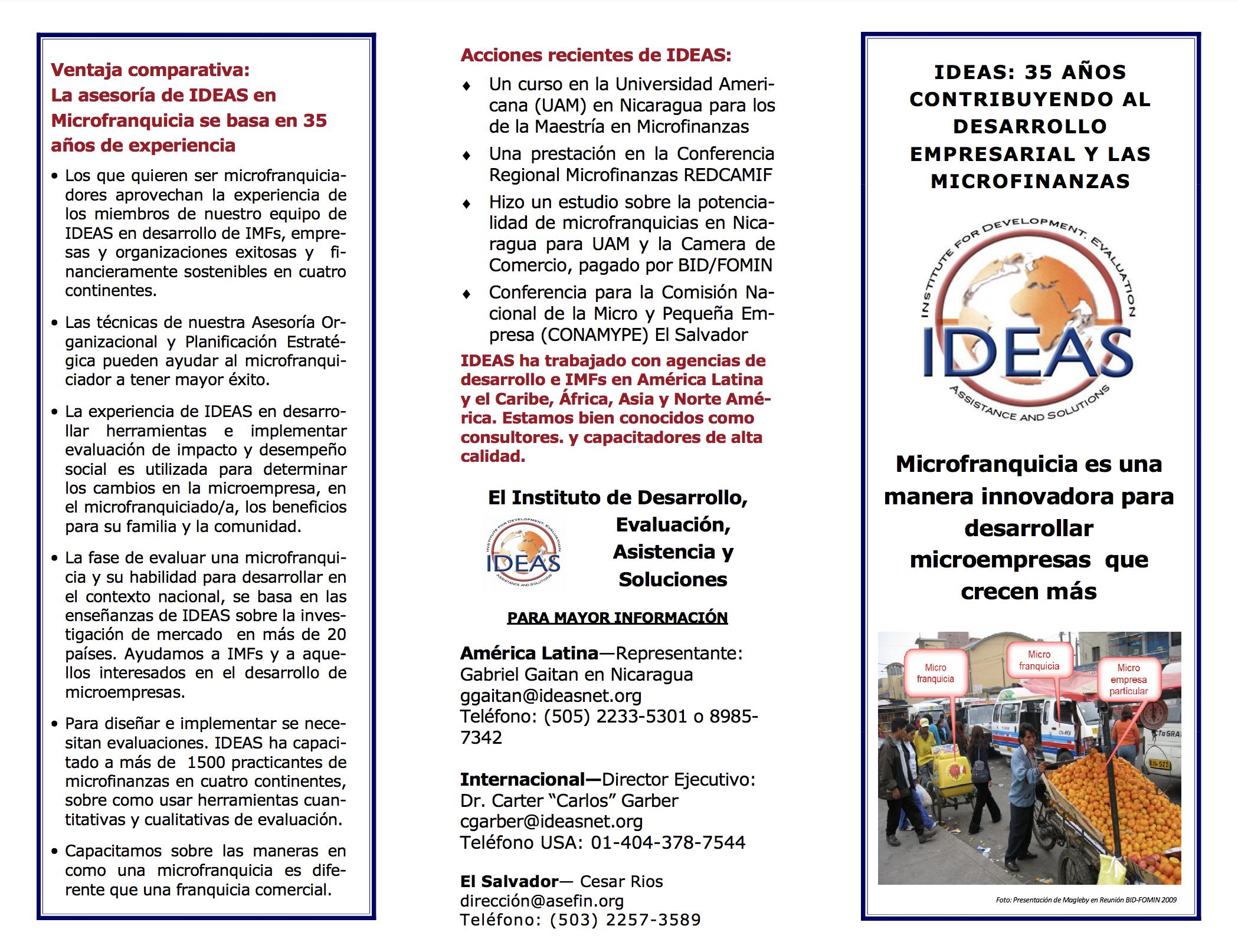 Microfranchising IDEAS brochure 4 Marzo 2011-ESP
