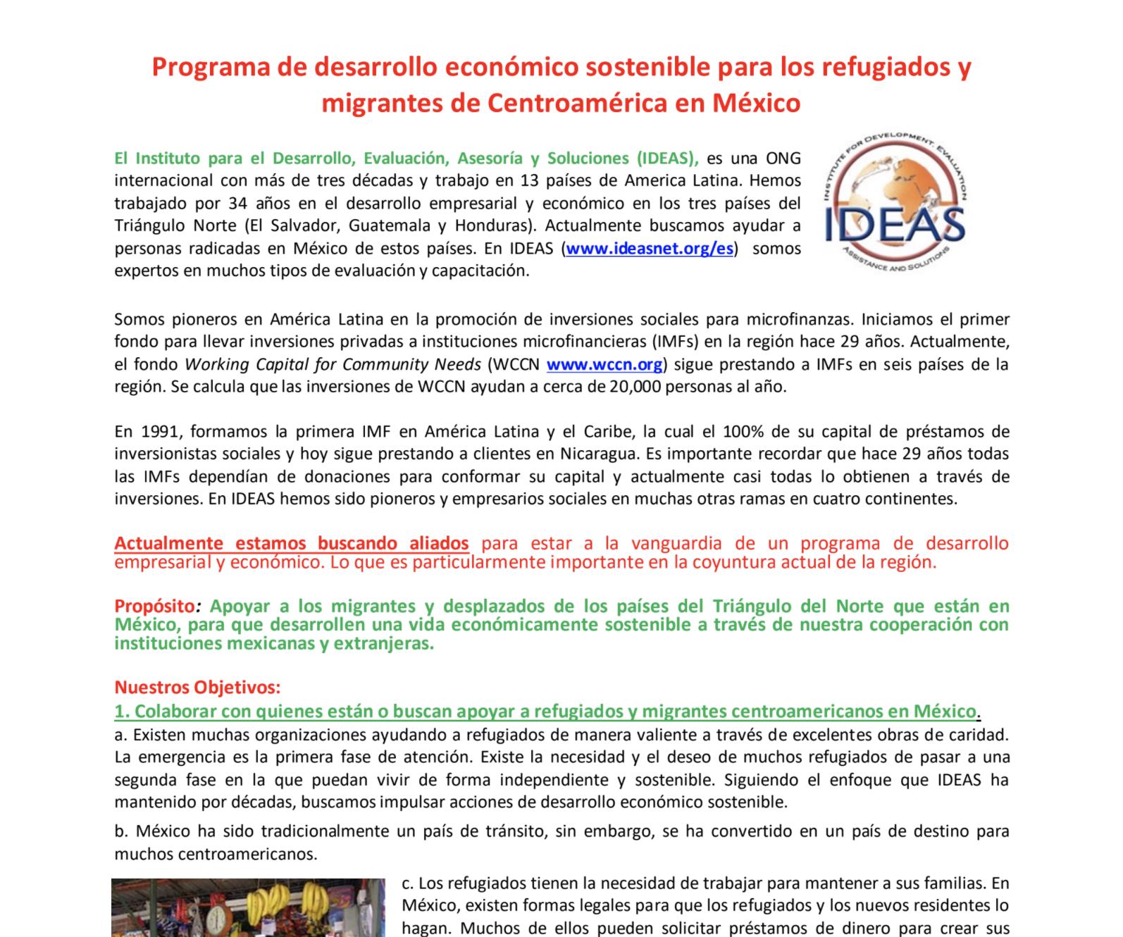 Programa para refugiados Centroamericanos en Mexico (30-7-20)