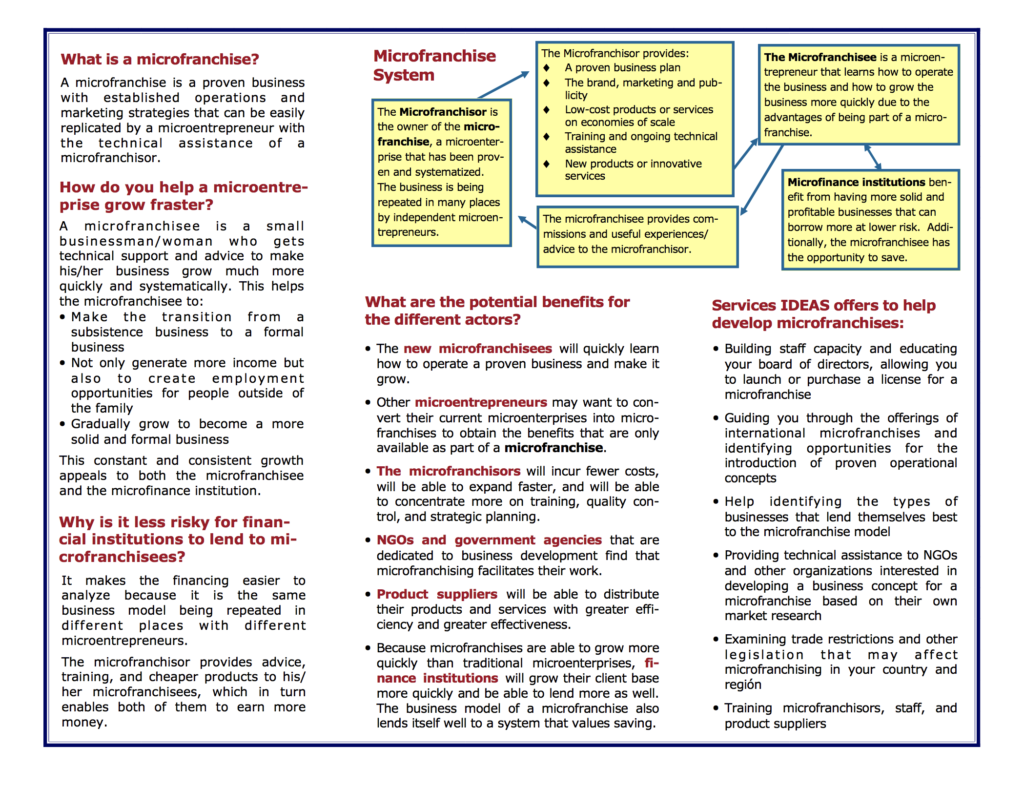 Microfranchising IDEAS brochure